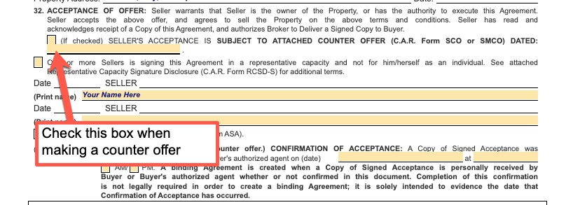 Counter offer on a real estate purchase agreement