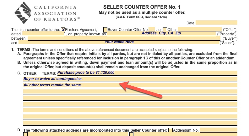 Home seller's counteroffer to buyer